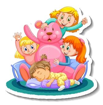 격리 된 잠옷 의상에서 세 아이와 스티커 템플릿