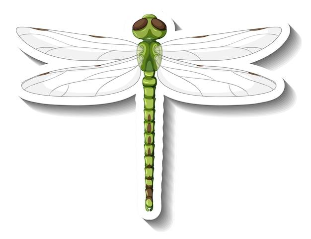 Un modello di adesivo con vista dall'alto della libellula isolata
