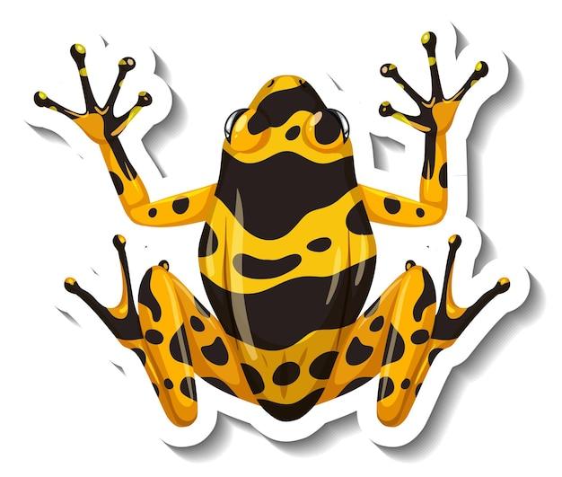 Un modello di adesivo con vista dall'alto di una rana con dardo velenoso a strisce gialle