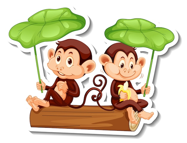 Sticker template with two monkeys holding a leaf on white background