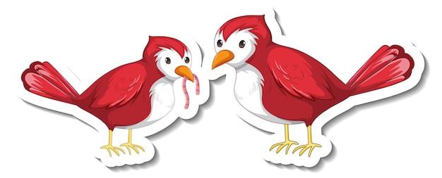 白い背景で隔離の2つの赤い鳥とステッカーテンプレート