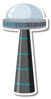 Modello di adesivo con oggetto volante non identificato (ufo) isolato