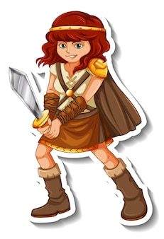 Sticker template with viking warrior cartoon character isolated