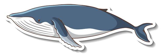 Modello di adesivo con un personaggio dei cartoni animati di balena isolato