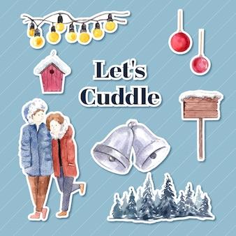 캐릭터 만화 절연 수채화 벡터 일러스트 레이 션에 대 한 겨울 사랑 컨셉 디자인 스티커 템플릿