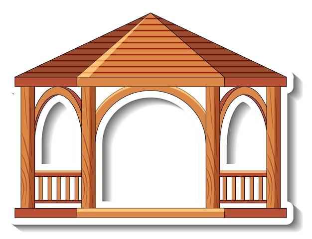 Modello adesivo con gazebo in legno isolato