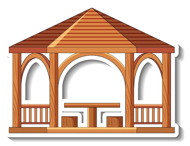 分離された木製の望楼とステッカーテンプレート