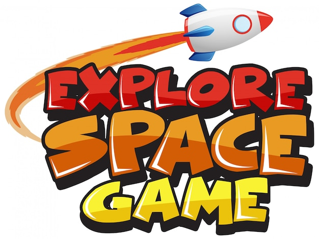 Sticker template for word explore space game