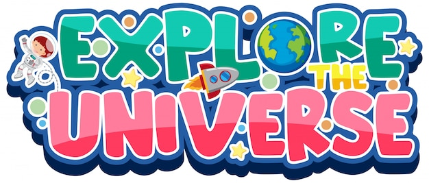 Sticker template for word explore the universe