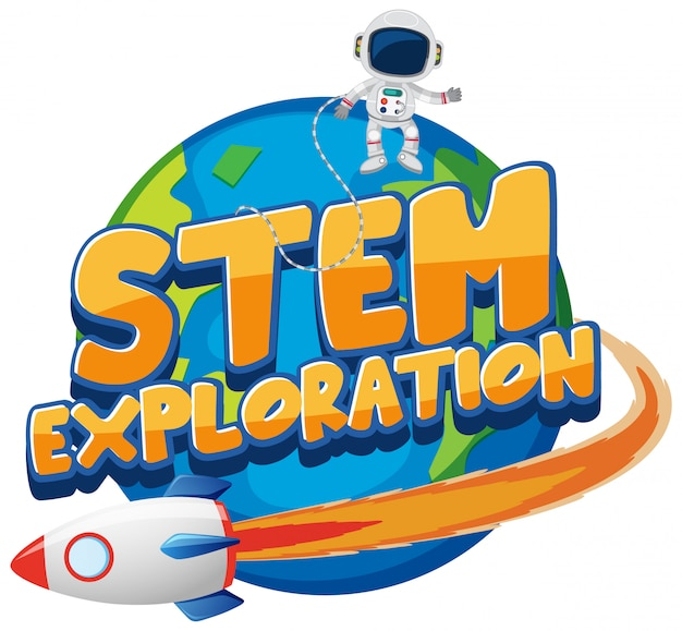 Sticker template for word stem exploration with astronaut on earth