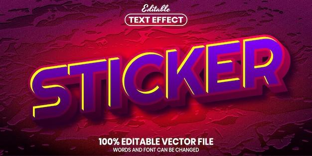 Текст стикера, редактируемый текстовый эффект стиля шрифта