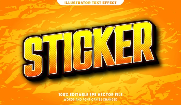 Sticker text, font style editable text effect