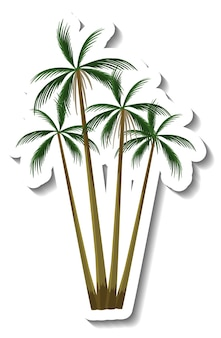 Adesivo albero di cocco tropicale su sfondo bianco