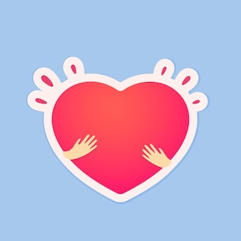Sticker with abstract heart in hands illustration