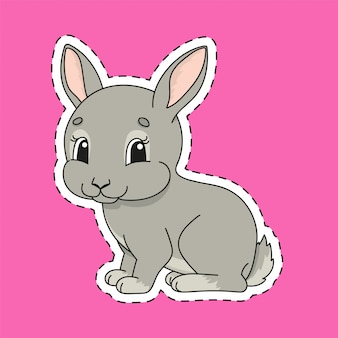 Sticker with contour. rabbit bunny animal. cartoon character.