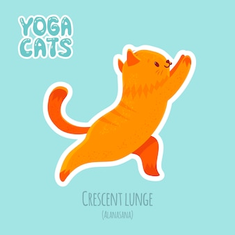 Sticker with cute cat practicing yoga
