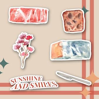 아이콘 및 로고 수채화 그림에 대 한 유럽 피크닉 컨셉 디자인 스티커.