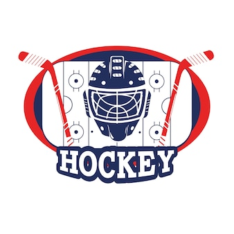 Sticker with hockey helmet and sticks in the rink
