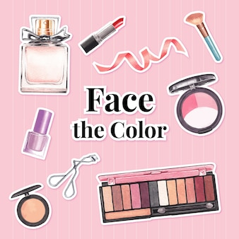 Наклейка с концепцией макияжа для рекламы и маркетинговой акварели.