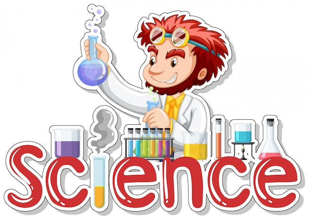 Sticker with scientist doing experiment
