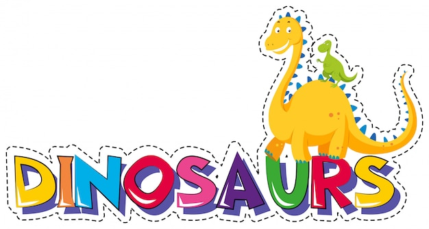 Sticker for word dinosaurs