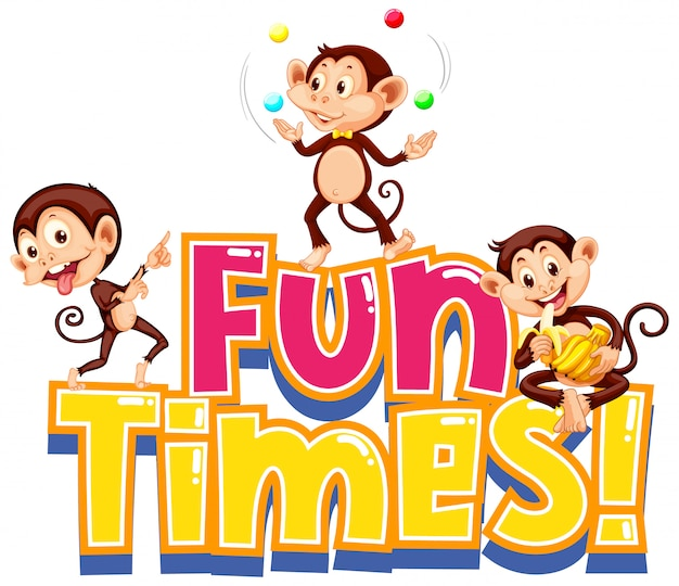 Sticker  for word fun times with cute monkeys