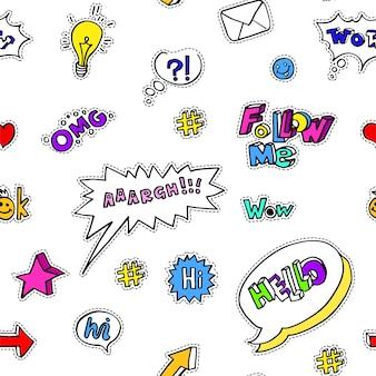 ソーシャルメディアで使用されるステッカーやアイコン、フレーズや俗語、シームレスなパターン。封筒の手紙と白熱電球、疑問符とハート、矢印と笑顔。スターとチャットボックスのベクトル