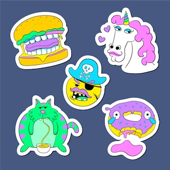 Stickers collection with acid colors