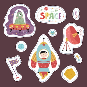 Stickers collection with space cartoons