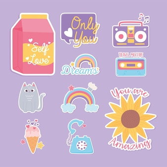 Stickers decoration cartoon icons flower rainbow cat ice cream cassette telephone  illustration