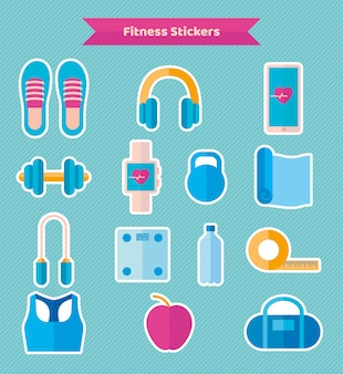 Stickers of fitness equipment