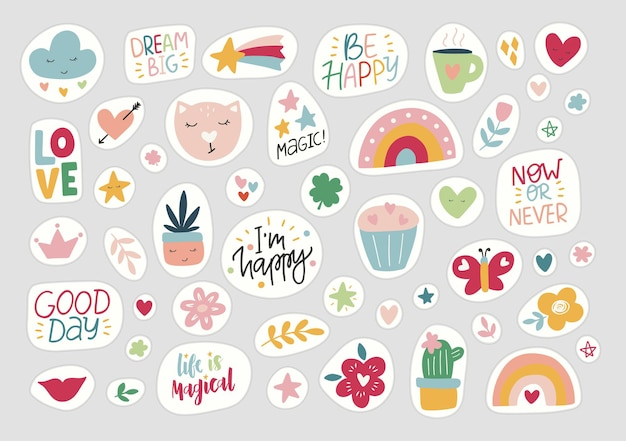 Stickers flat vector illustration.