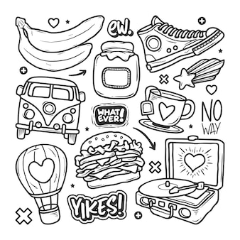 Stickers hand drawn doodle