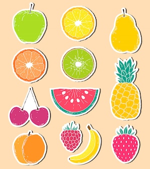 Stickers of hand drawn fruits