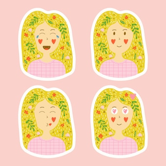 Stickers in hand drawn style. set of emotions of a young blonde girl.