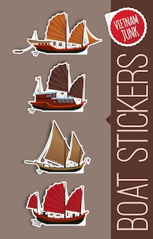 Stickers of junk boat designs