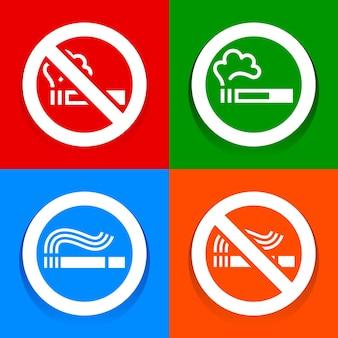 色とりどりのステッカー-禁煙のシンボル