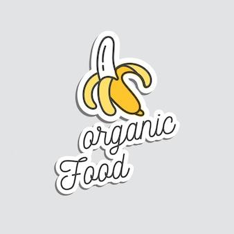 Стикеры или значок заплаты и банан иллюстрации шаржа. каракули летом экзотические фрукты.