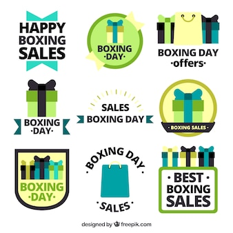 Stickers pack of boxing day in flat design