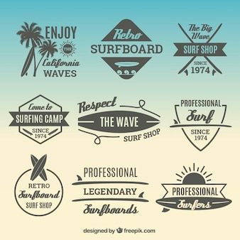 Stickers pack with surf elements