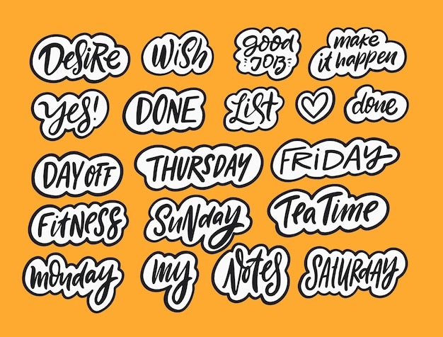 Stickers set lettering for day month hand drawn black color calligraphy text