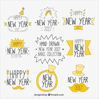 Stickers set of hand drawn new year