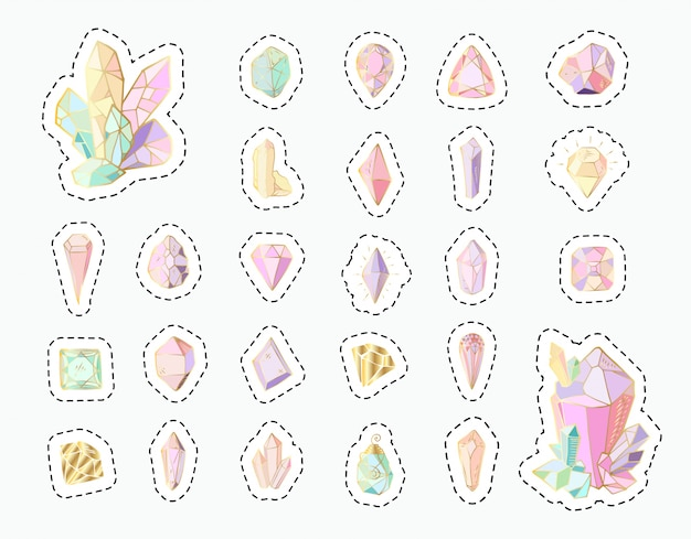 Stickers set - rainbow crystals or gems, isolated patches