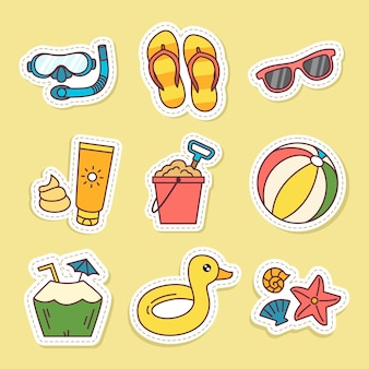 Stickers set of summer items vector illustrations on yellow background