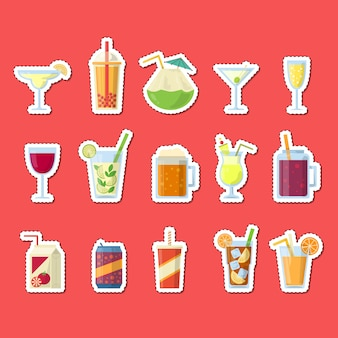 Stickers set with alcoholic drinks in glasses and bottles