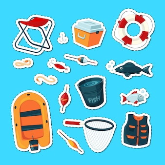 Stickers set with cartoon colored fishing equipment  isolated