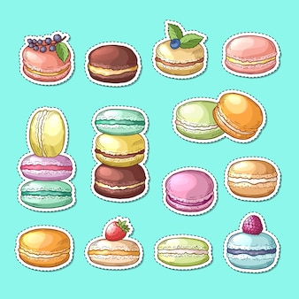 Stickers set with colored hand drawn sweet macaroons isolated