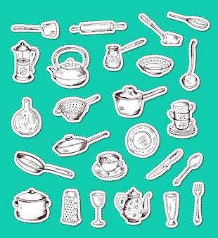 Stickers set with hand drawn kitchen utensils isolated in green