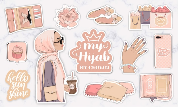 Stickers set with objects and a modern muslim young woman wearing a hijab