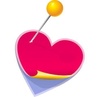 Stickers in the shape of a heart pinned clerical pin